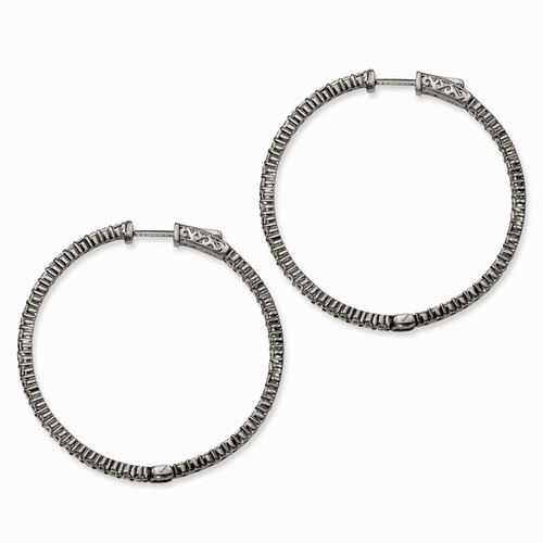 Sterling Silver Ruthenium-plated Cz In & Out Hoop Earrings Qe7577b