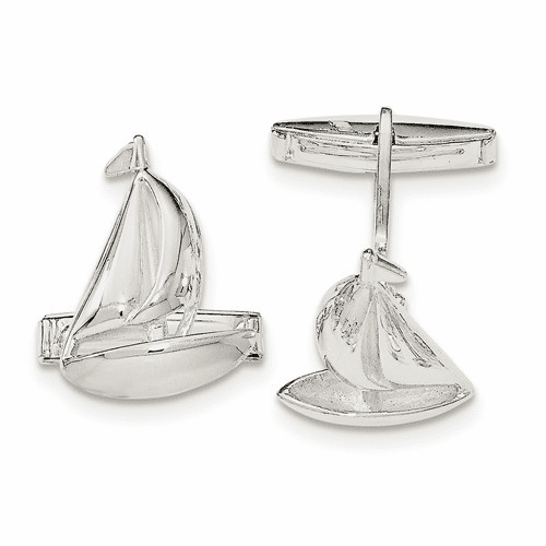 Sterling Silver Sail Boat Cuff Links Qq557