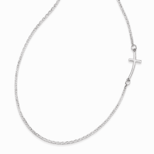 Sterling Silver Small Sideways Curved Cross Necklace Qg3465-18