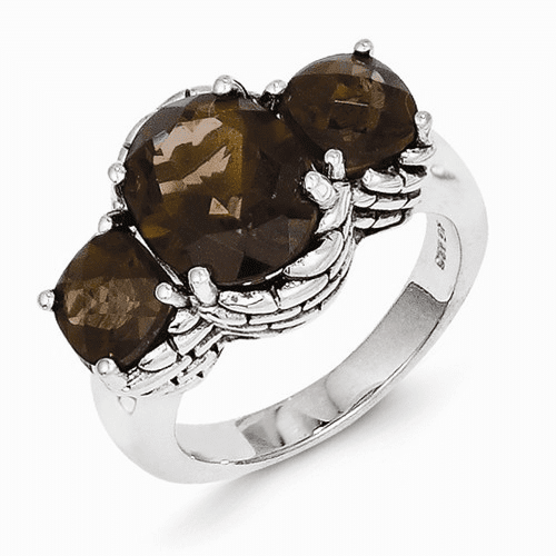 Sterling Silver Smoky Quartz Ring Qtc93-6