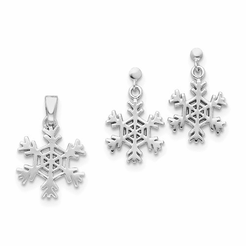 Sterling Silver Snowflake Earrings And Pendant Set Qst60