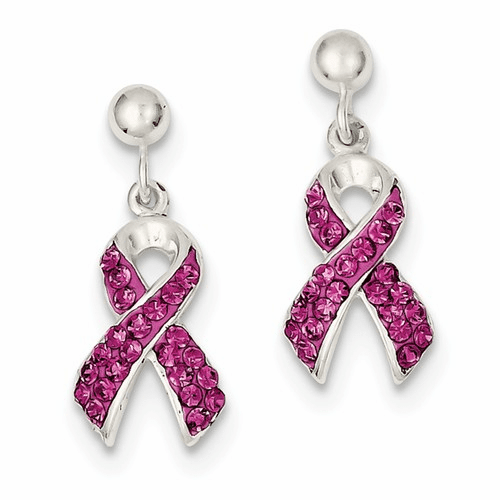 Sterling Silver Stellux Crystal Pink Awareness Ribbon Earrings Qe9653