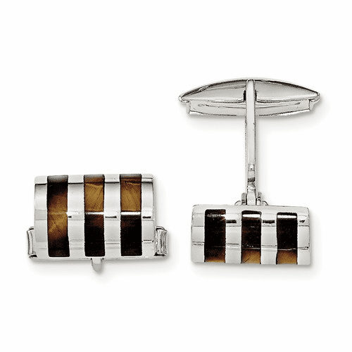 Sterling Silver Tigers Eye Cuff Links Qq575