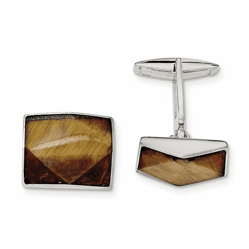 Sterling Silver Tigers Eye Cuff Links Qq586