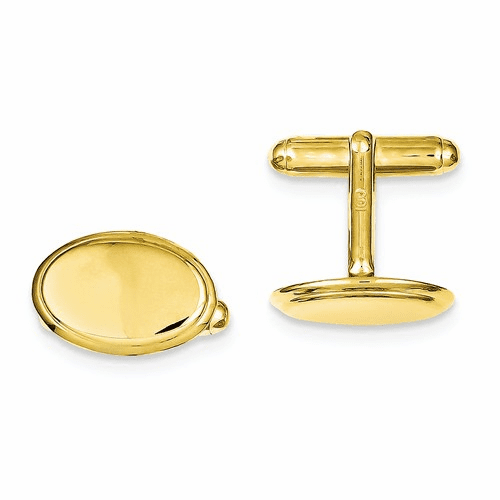 Sterling Silver & Vermeil Oval Cuff Links Qq296