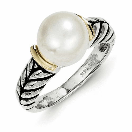 Sterling Silver W/14k 10mm Button Fw Cultured Pearl Ring Qtc171-6