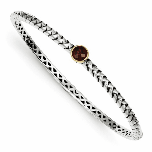 Sterling Silver W/14k 6mm Garnet Bangle Bracelet Qtc140
