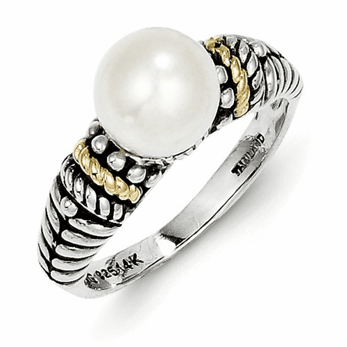 Sterling Silver W/14k 8mm Fw Cultured Pearl Ring Qtc207-8
