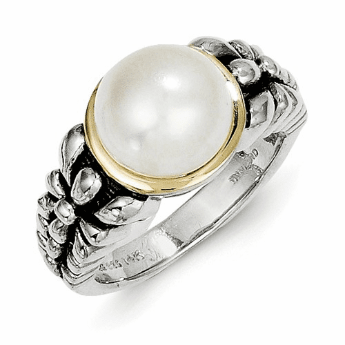 Sterling Silver W/14k 9.5-10mm Fw Cultured Pearl Ring Qtc71-7