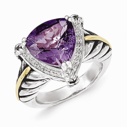 Sterling Silver W/14k Amethyst And Diamond Ring Qtc1219-8