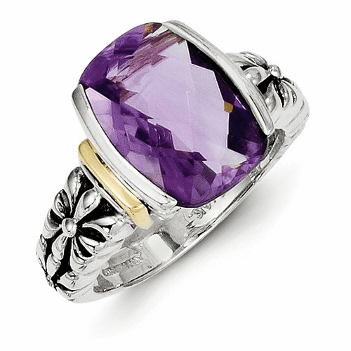 Sterling Silver W/14k Amethyst Cushion-cut Ring Qtc41-7