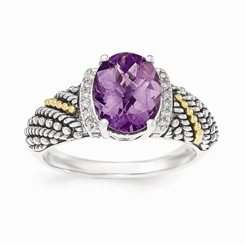 Sterling Silver W/14k Amethyst & Diamond Ring Qtc1234-6