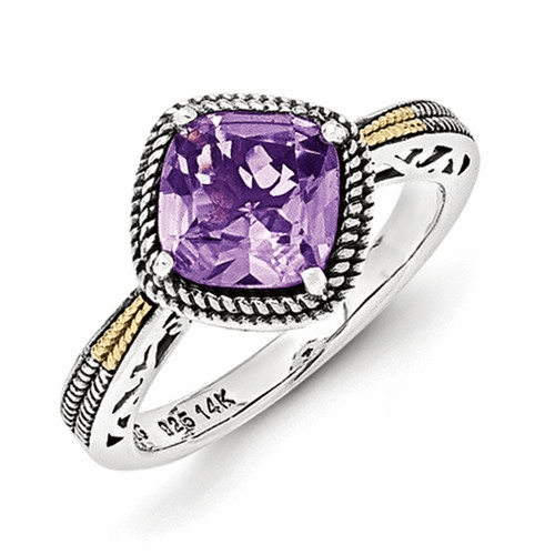 Sterling Silver W/14k Antiqued Amethyst Ring Qtc1117-7