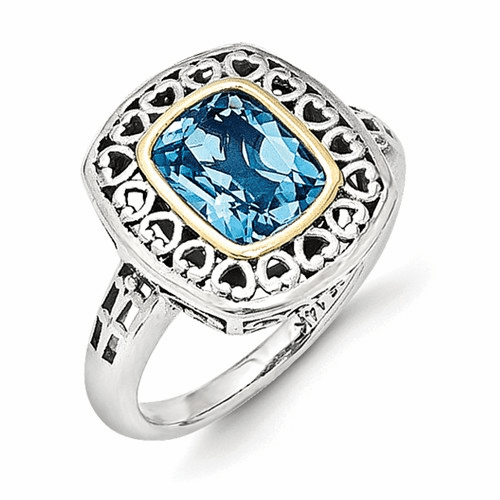 Sterling Silver W/14k Antiqued Blue Topaz Ring Qtc1127-7