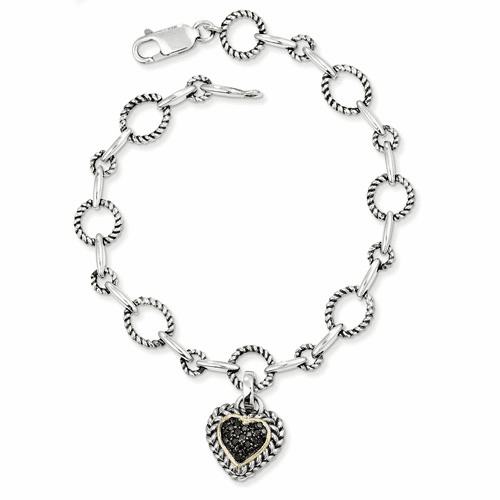 Sterling Silver W/14k Black Diamond Heart Link Bracelet Qtc178
