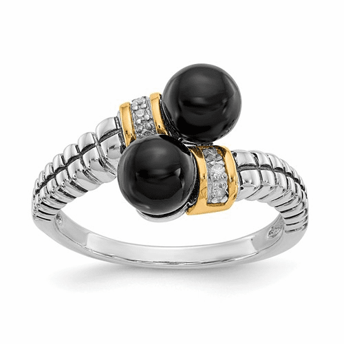 Sterling Silver W/ 14k Black Onyx And Diamond Ring Qtc1204-7