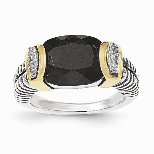 Sterling Silver W/14k Black Onyx And Diamond Ring Qtc1206-7