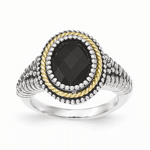 Sterling Silver W/14k Black Onyx Ring Qtc1202-8