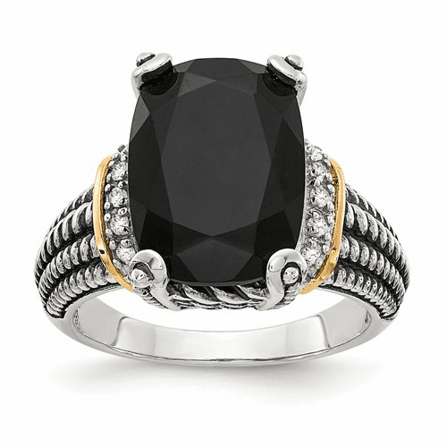 Sterling Silver W/14k Black Onyx & White Diamond Ring Qtc1205-7