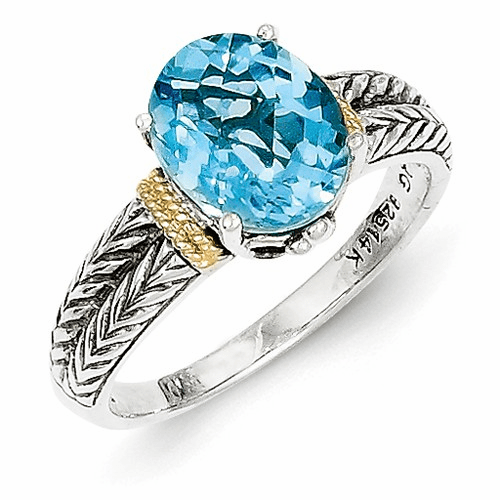 Sterling Silver W/14k Blue Topaz Ring Qtc762-6
