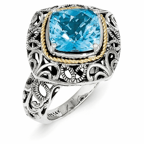 Sterling Silver W/14k Blue Topaz Ring Qtc767-7