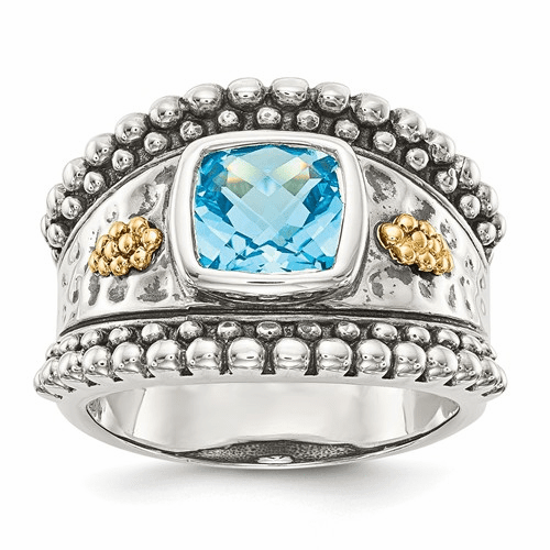 Sterling Silver W/14k Blue Topaz Ring Qtc768-8