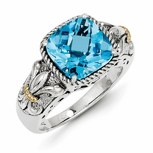 Sterling Silver W/14k Blue Topaz Ring Qtc784-6