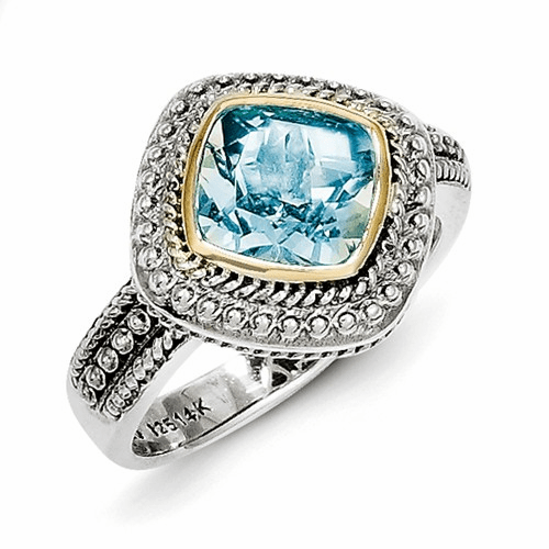 Sterling Silver W/14k Blue Topaz Ring Qtc797-6