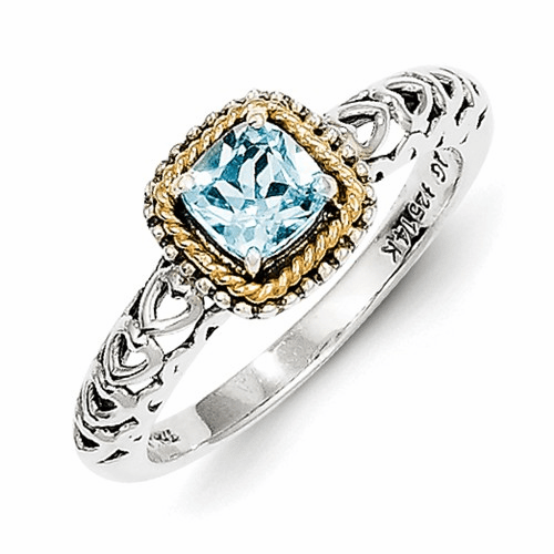 Sterling Silver W/14k Blue Topaz Ring Qtc801-6