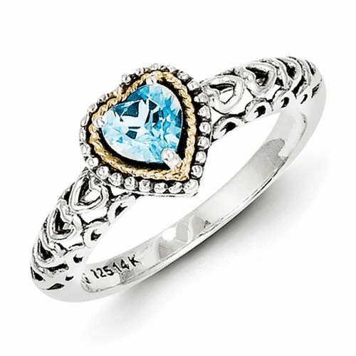 Sterling Silver W/14k Blue Topaz Ring Qtc803-6