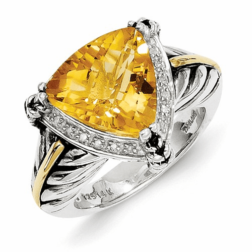 Sterling Silver W/14k Citrine & Diamond Ring Qtc189-8