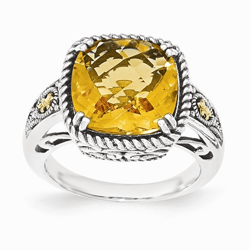 Sterling Silver W/14k Citrine Ring Qtc1445-8