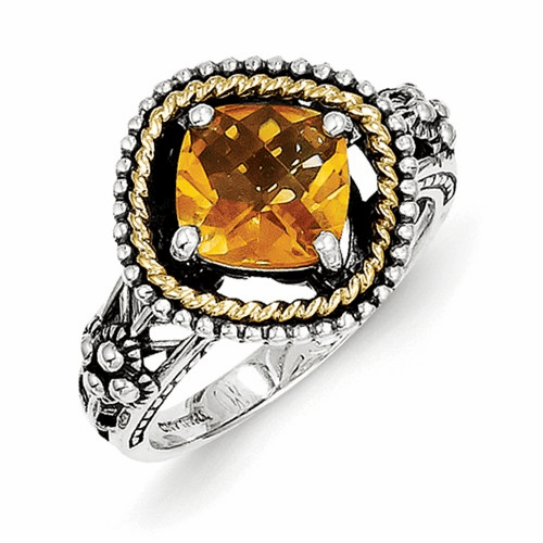 Sterling Silver W/14k Citrine Ring Qtc353-8