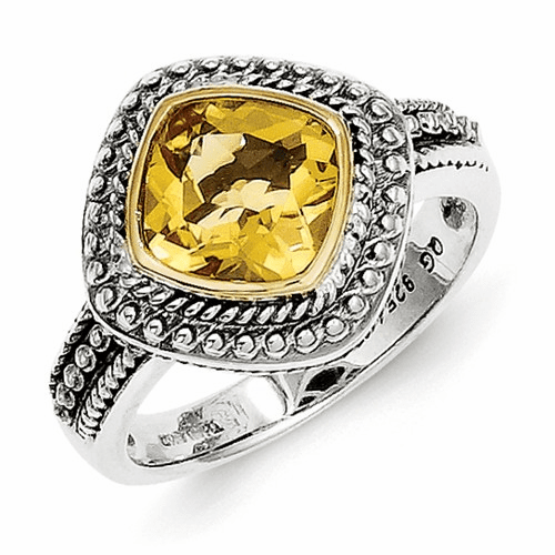 Sterling Silver W/14k Citrine Ring Qtc835-6