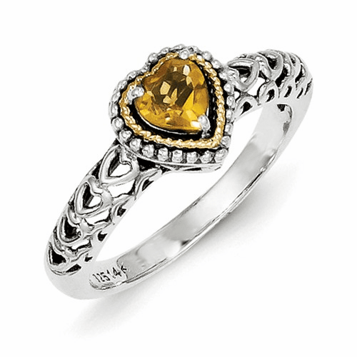 Sterling Silver W/14k Citrine Ring Qtc841-6