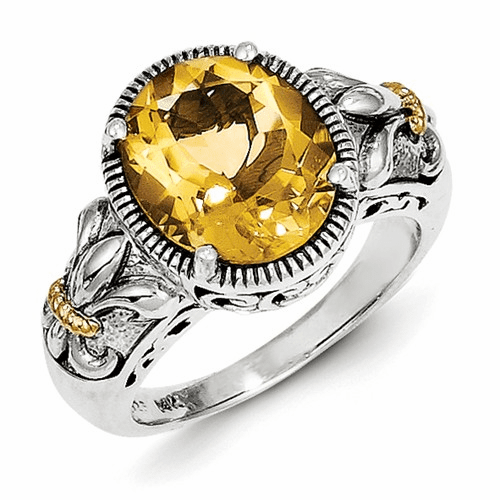 Sterling Silver W/14k Citrine Ring Qtc854-7