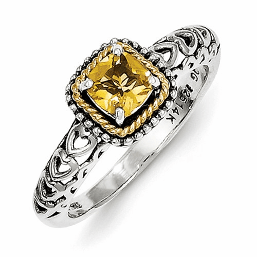 Sterling Silver W/14k Citrine Ring Qtc859-6