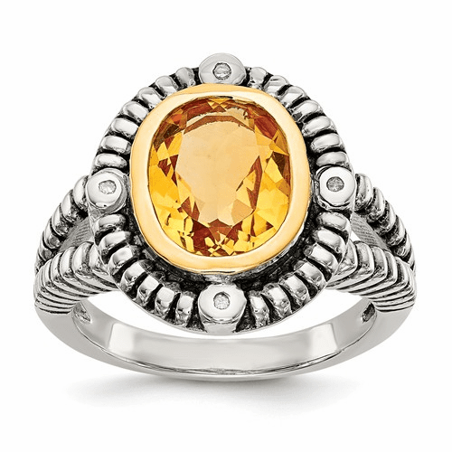Sterling Silver W/14k Citrine W/diamond Ring Qtc1433-7