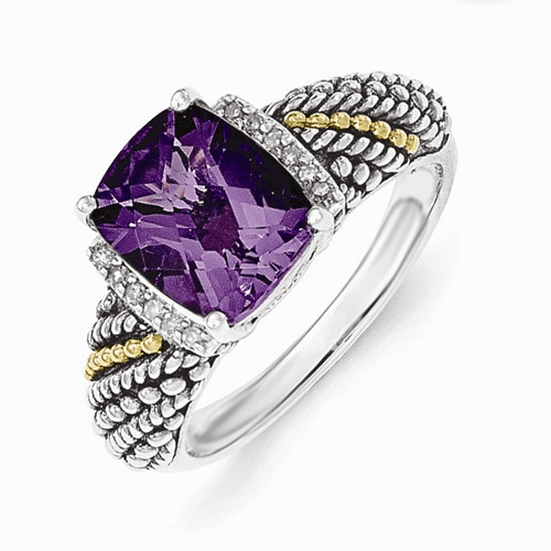 Sterling Silver W/14k Diamond And Amethyst Ring Qtc1224-6