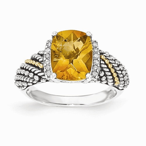 Sterling Silver W/14k Diamond And Citrine Ring Qtc1441-6