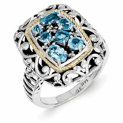 Sterling Silver W/14k Diamond & Blue Topaz Ring Qtc769-6