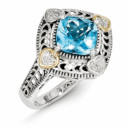 Sterling Silver W/14k Diamond & Blue Topaz Ring Qtc790-7