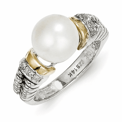 Sterling Silver W/14k Diamond & Fw Cultured Pearl Ring Qtc72-8