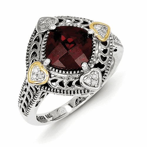 Sterling Silver W/14k Diamond & Garnet Ring Qtc668-7