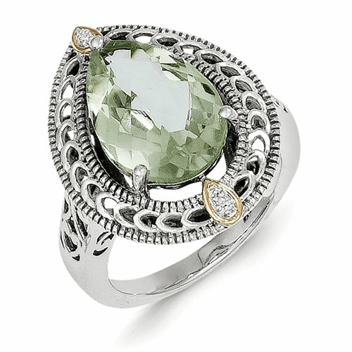 Sterling Silver W/14k Diamond & Green Quartz Ring Qtc884-7