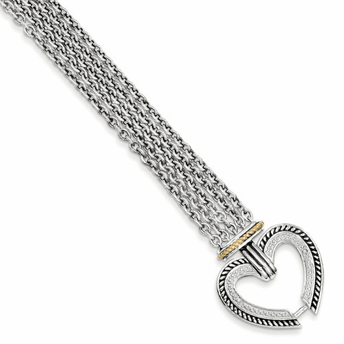 Sterling Silver W/14k Diamond Heart Bracelet Qtc183
