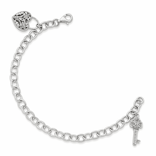 Sterling Silver W/14k Diamond Heart Lock And Key Bracelet Qtc949