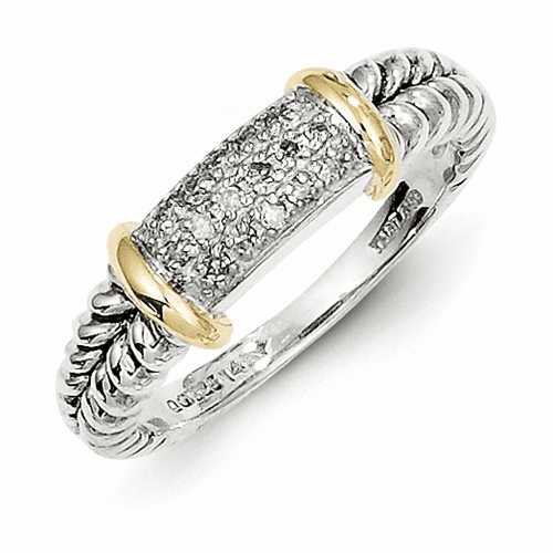 Sterling Silver W/14k Diamond Ring Qtc5-8
