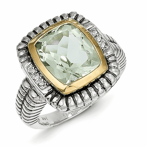 Sterling Silver W/14k Green Quartz & Diamond Ring Qtc192-7