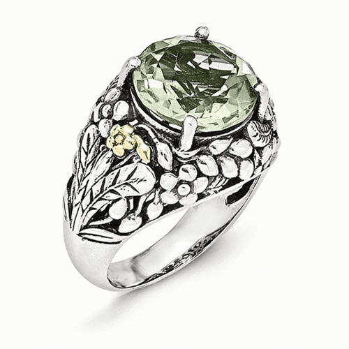 Sterling Silver W/14k Green Quartz Ring Qtc1121-7